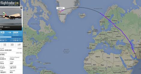 flightradar24 great circle route